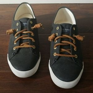Sperry top sider brown lace black sneakers 9.5